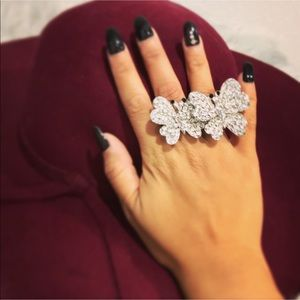 RHINESTONE Butterfly 🦋 Double Ring ❤️❤️